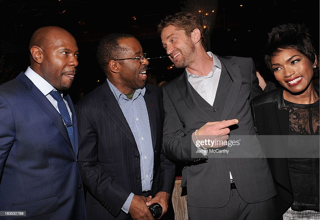 Director Antoine Fuqua,Courtney B. Vance,Gerard Butler and Angela Bassett attend the after party for The Cinema Society with Roger Dubuis and Grey Goose screening of FilmDistrict's 'Olympus Has Fallen' at The Darby on March 11, 2013 in New York City.