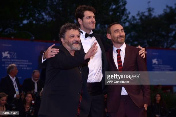Director Antonio Manetti actor Giampaolo Morelli and director Marco Manetti attend the premiere of the movie 'Ammore E Malavita' presented in...