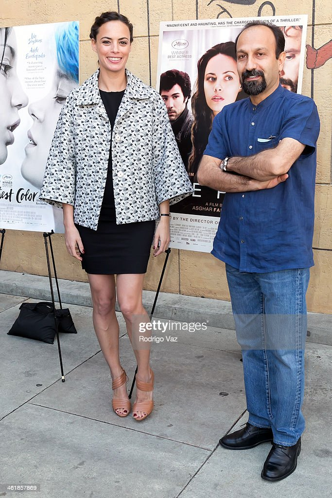 Director <a gi-track='captionPersonalityLinkClicked' href=/galleries/search?phrase=Asghar+Farhadi&family=editorial&specificpeople=5700577 ng-click='$event.stopPropagation()'>Asghar Farhadi</a> (R) and actress Berenice Bejo attend the Golden Globe Foreign-Language Nominees panel discussion and screening series photo op at American Cinematheque's Egyptian Theatre on January 11, 2014 in Hollywood, California.