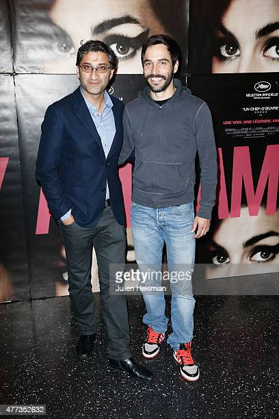 Director Asif Kapadia and Assaad Bouab attend the 'Amy' Paris Premiere at Cinema Max Linder on June 16 2015 in Paris France