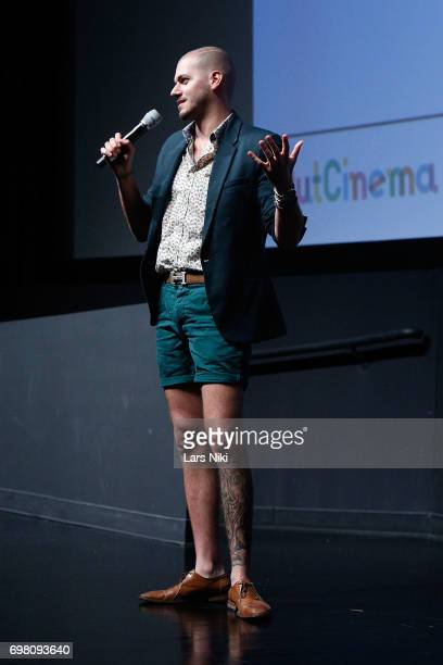 Director Assaad Yacoub addresses the audience during the Cherry Pop Premiere at OutCinema Presented by NewFest and NYC Pride at SVA Theater on June...