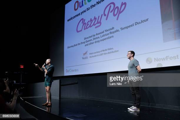 Director Assaad Yacoub and NewFest Program Director Nick McCarthy address the audience during the Cherry Pop Premiere at OutCinema Presented by...
