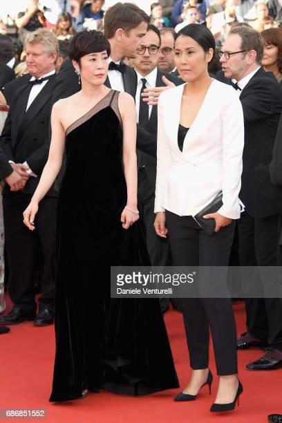 Director Atsuko Hirayanagi and Shinobu Terajima of 'Oh Lucy' attend 'The Killing Of A Sacred Deer' premiere during the 70th annual Cannes Film...