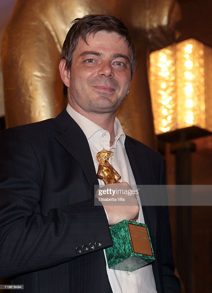 Director Aureliano Amadei shows his Young David for the movie '20 Sigarette' at the end of 2011 Premi David di Donatello Italian Academy Awards at Auditorium della Conciliazione on May 6, 2011 in Rome, Italy.