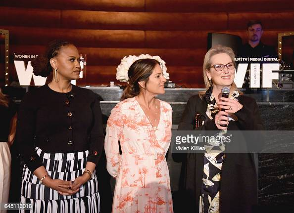 Director Ava Duvernay President of Women In Film Cathy Schulman and actor Meryl Streep speak onstage during the tenth annual Women in Film PreOscar...