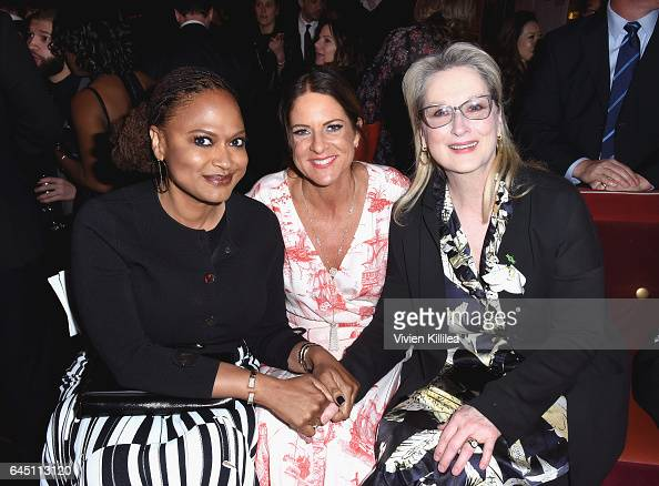 Director Ava Duvernay President of Women In Film Cathy Schulman and actor Meryl Streep attend the tenth annual Women in Film PreOscar Cocktail Party...