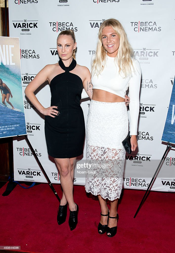 Director Ava Warbrick and surfer Stephanie Gilmore attend the 'Stephanie In The Water' New York Premiere at Tribeca Cinemas on August 12 2014 in New...