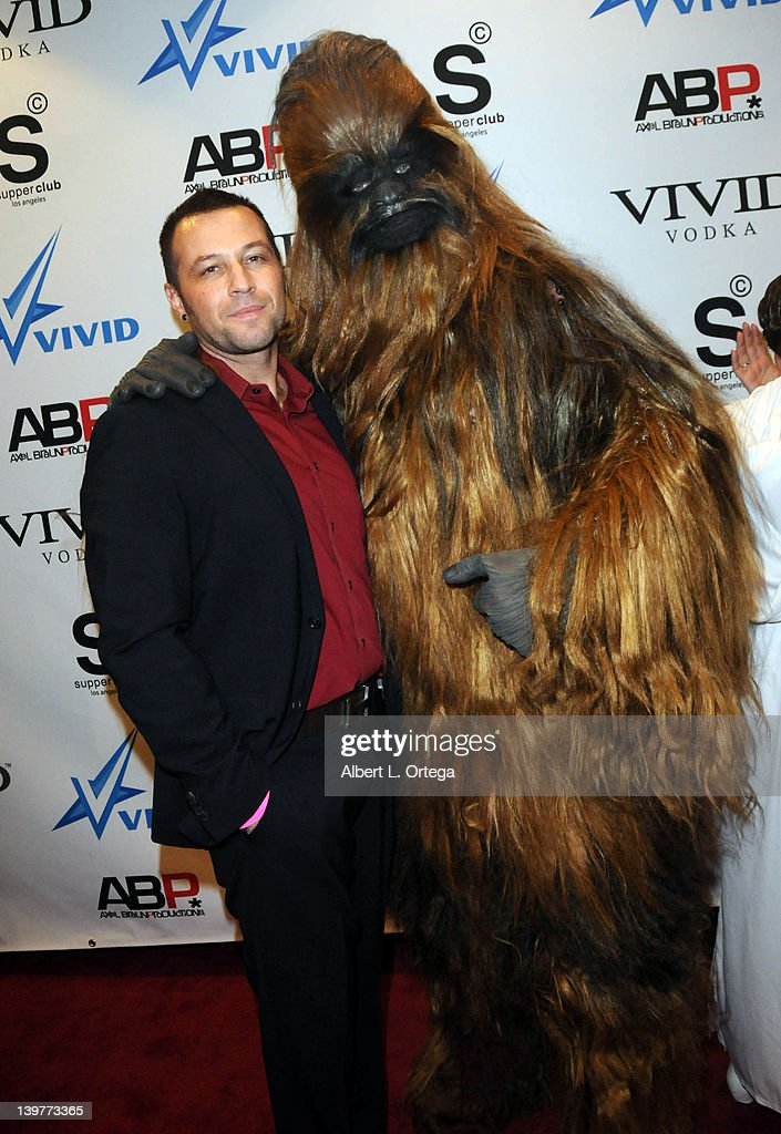 Director Axel Braun and Chewbacca arrive for the Premiere Of Vivid Entertainment's 'Star Wars