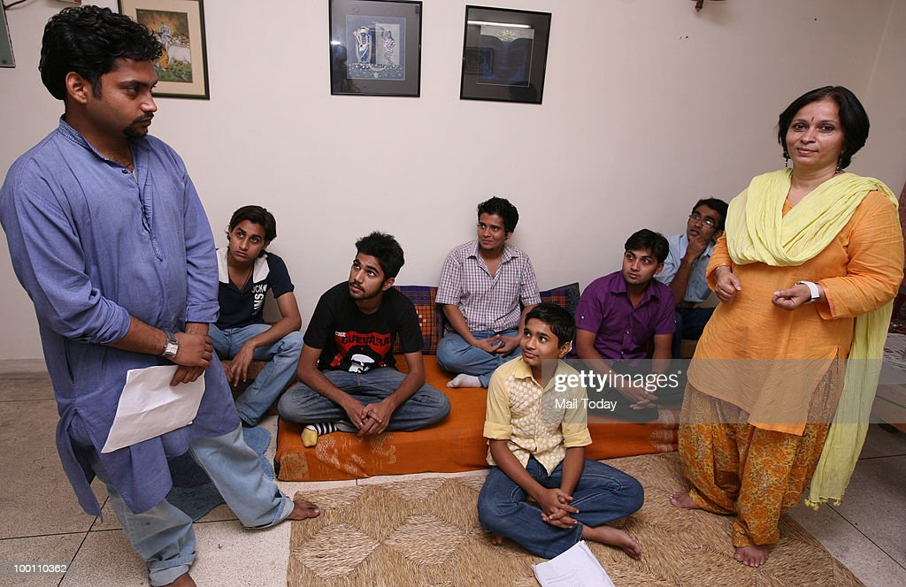 Director Baanee Sharad, daughter of noted social satirist Sharad Joshi, rehearses for the play Sharad Joshi Ki Yaad Mein... with the group Entropy for a picture in New Delhi on May 19, 2010.