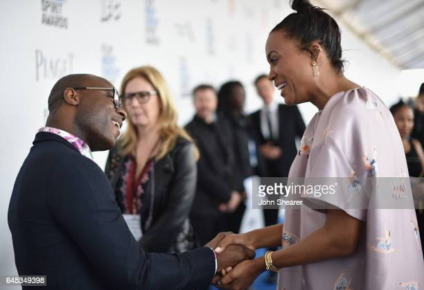 Director Barry Jenkins and actor Aisha Tyler attend the 2017 Film Independent Spirit Awards at Santa Monica Pier on February 25 2017 in Santa Monica...