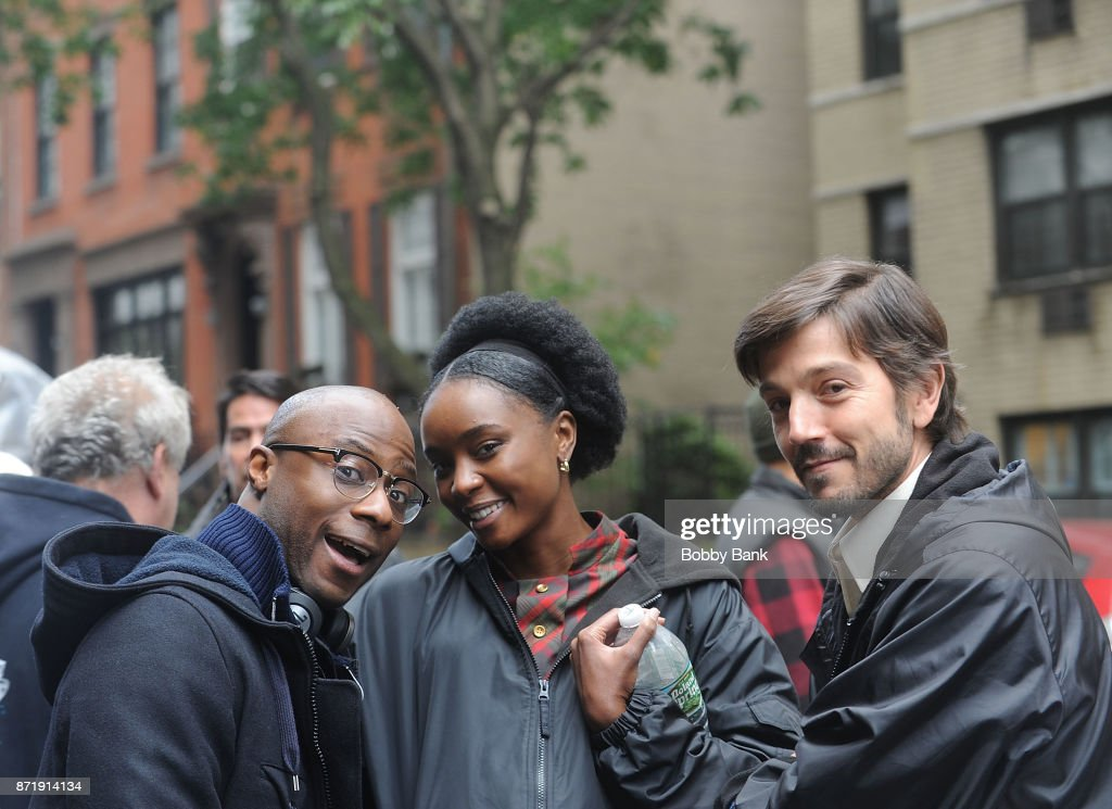 "Diego Luna, Director Barry Jenkins and Kiki Layne posed for the paps on set of ""If Beale Street Could Talk"" in NYC on Wednesday."