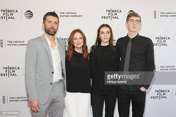Director Bart Freundlich actress Julianne Moore Liv Freundlich and Caleb Freundlich attend the 'Wolves' premiere during 2016 Tribeca Film Festival at...