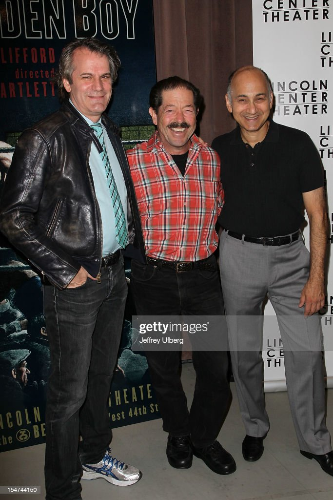 Director <a gi-track='captionPersonalityLinkClicked' href=/galleries/search?phrase=Bartlett+Sher&family=editorial&specificpeople=2487092 ng-click='$event.stopPropagation()'>Bartlett Sher</a> and actors Jonathan Hadary and Ned Eisenberg attend the 'Golden Boy' Cast Meet & Greet at the Lincoln Center Theater on October 25, 2012 in New York City.