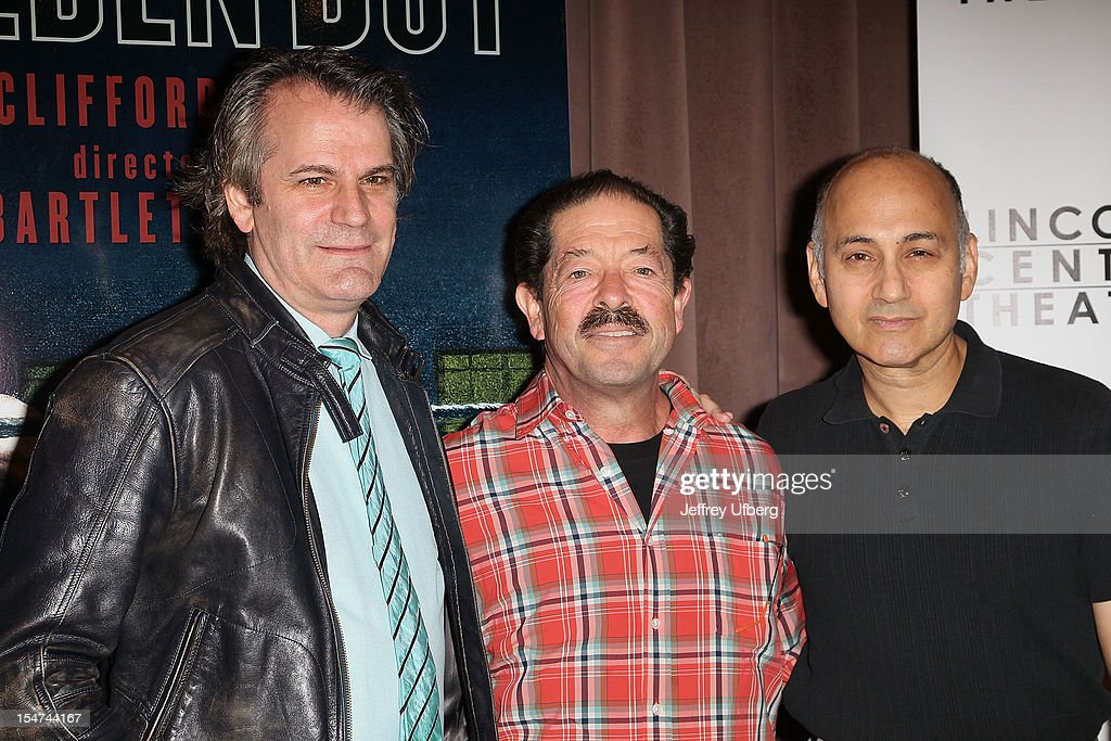 Director Bartlett Sher and actors Jonathan Hadary and Ned Eisenberg attend the 'Golden Boy' Cast Meet & Greet at the Lincoln Center Theater on October 25, 2012 in New York City.