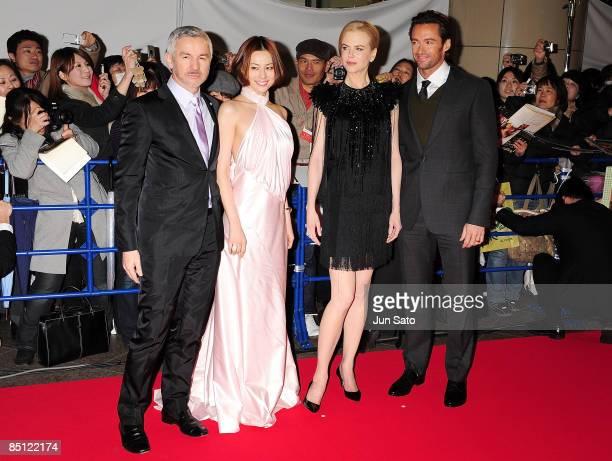 Director Baz Luhrmann actresses Ryoko Yonekura Nicole Kidman and actor Hugh Jackman attend the 'Australia' Japan Premiere at Toho Cinemas Nichigeki...