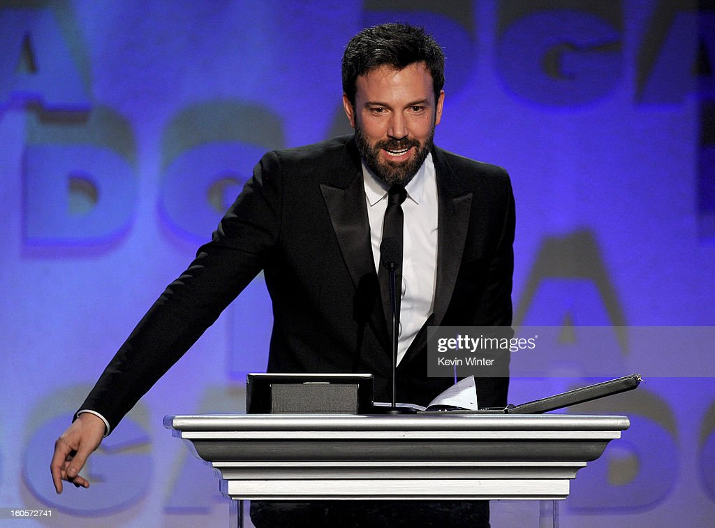 Director <a gi-track='captionPersonalityLinkClicked' href=/galleries/search?phrase=Ben+Affleck&family=editorial&specificpeople=201856 ng-click='$event.stopPropagation()'>Ben Affleck</a> accepts the Feature Film Nomination Plaque for 'Argo' onstage during the 65th Annual Directors Guild Of America Awards at Ray Dolby Ballroom at Hollywood & Highland on February 2, 2013 in Los Angeles, California.