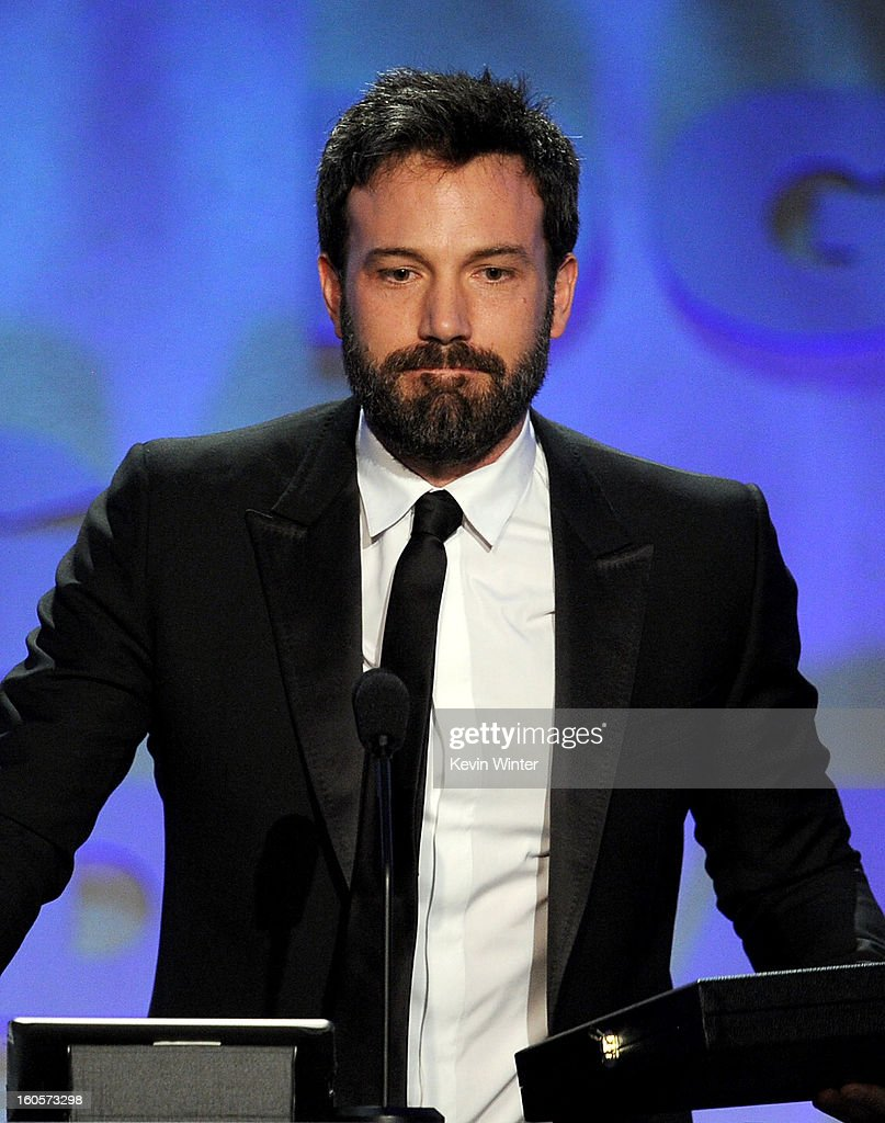 Director <a gi-track='captionPersonalityLinkClicked' href=/galleries/search?phrase=Ben+Affleck&family=editorial&specificpeople=201856 ng-click='$event.stopPropagation()'>Ben Affleck</a> accepts the Outstanding Directorial Achievement in Feature Film for 2012 award for 'Argo' onstage during the 65th Annual Directors Guild Of America Awards at Ray Dolby Ballroom at Hollywood & Highland on February 2, 2013 in Los Angeles, California.
