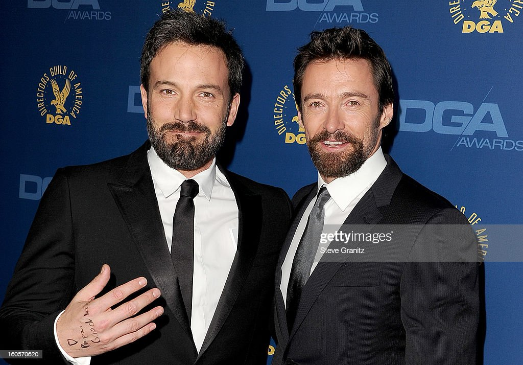 Director <a gi-track='captionPersonalityLinkClicked' href=/galleries/search?phrase=Ben+Affleck&family=editorial&specificpeople=201856 ng-click='$event.stopPropagation()'>Ben Affleck</a> (L) and actor <a gi-track='captionPersonalityLinkClicked' href=/galleries/search?phrase=Hugh+Jackman&family=editorial&specificpeople=202499 ng-click='$event.stopPropagation()'>Hugh Jackman</a> attend the 65th Annual Directors Guild Of America Awards at The Ray Dolby Ballroom at Hollywood & Highland Center on February 2, 2013 in Hollywood, California.