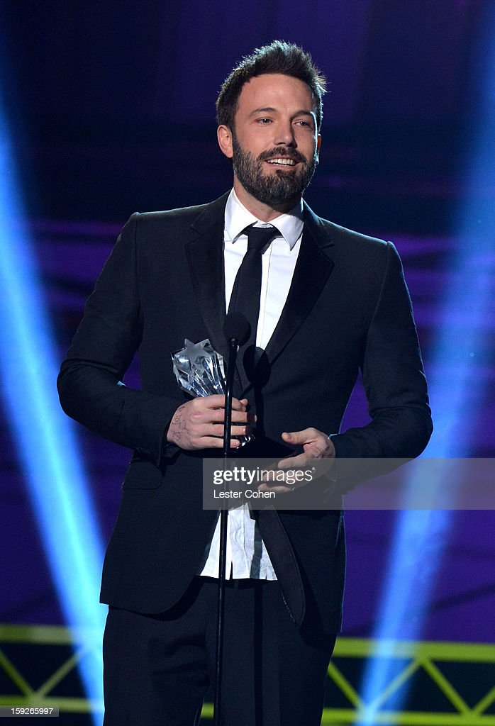 Director <a gi-track='captionPersonalityLinkClicked' href=/galleries/search?phrase=Ben+Affleck&family=editorial&specificpeople=201856 ng-click='$event.stopPropagation()'>Ben Affleck</a> speaks onstage during the 18th Annual Critics' Choice Movie Awards at The Barker Hanger on January 10, 2013 in Santa Monica, California.