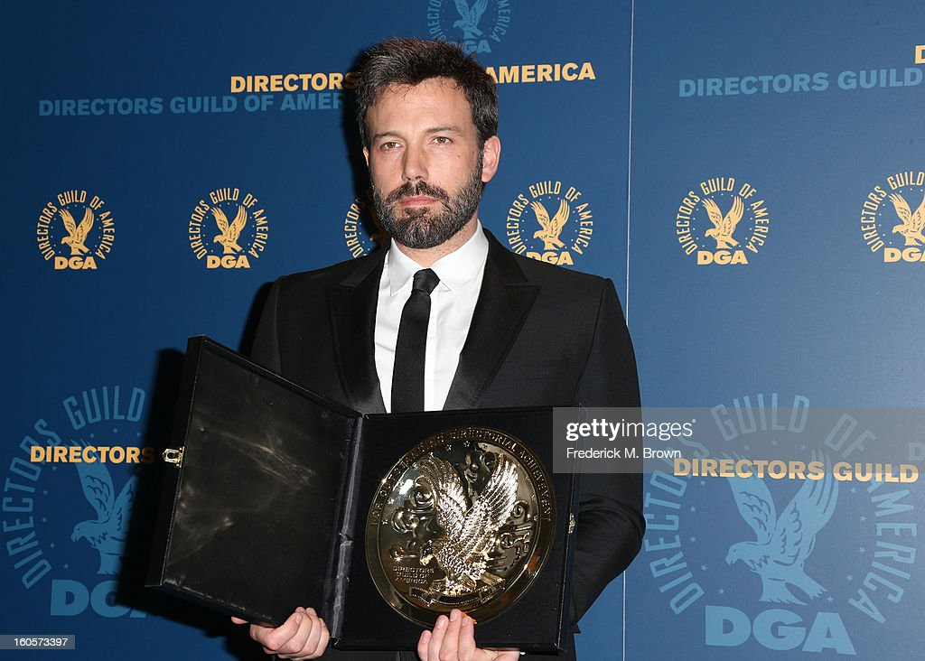"""Director Ben Affleck, winner of the Outstanding Directorial Achievement in Feature Film for 2012 award for """"Argo,"""" poses in the press room during the 65th Annual Directors Guild Of America Awards at Ray Dolby Ballroom at Hollywood & Highland on February 2, 2013 in Los Angeles, California."""