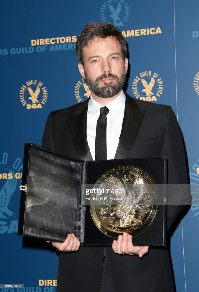 "Director <a gi-track='captionPersonalityLinkClicked' href=/galleries/search?phrase=Ben+Affleck&family=editorial&specificpeople=201856 ng-click='$event.stopPropagation()'>Ben Affleck</a>, winner of the Outstanding Directorial Achievement in Feature Film for 2012 award for ""Argo,"" poses in the press room during the 65th Annual Directors Guild Of America Awards at Ray Dolby Ballroom at Hollywood & Highland on February 2, 2013 in Los Angeles, California."