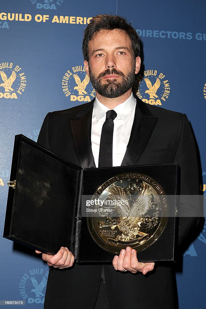 Director <a gi-track='captionPersonalityLinkClicked' href=/galleries/search?phrase=Ben+Affleck&family=editorial&specificpeople=201856 ng-click='$event.stopPropagation()'>Ben Affleck</a>, winner of the Outstanding Directorial Achievement in Feature Film for 2012 award for Argo, poses in the press room at the 65th Annual Directors Guild Of America Awards at The Ray Dolby Ballroom at Hollywood & Highland Center on February 2, 2013 in Hollywood, California.