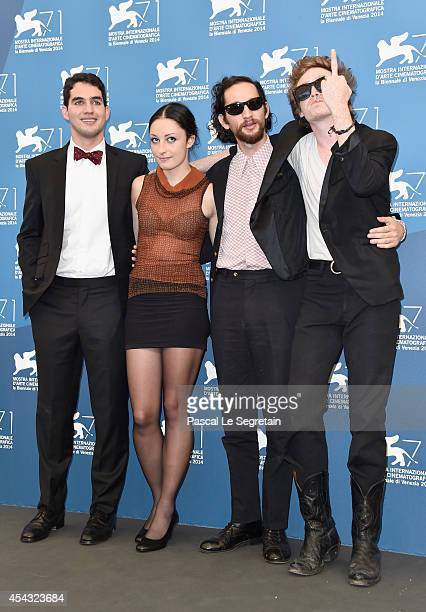 Director Ben Safdie actress Arielle Holmes director Joshua Safdie and Caleb Landry Jones attend the 'Heaven Knows What' photocall during the 71st...