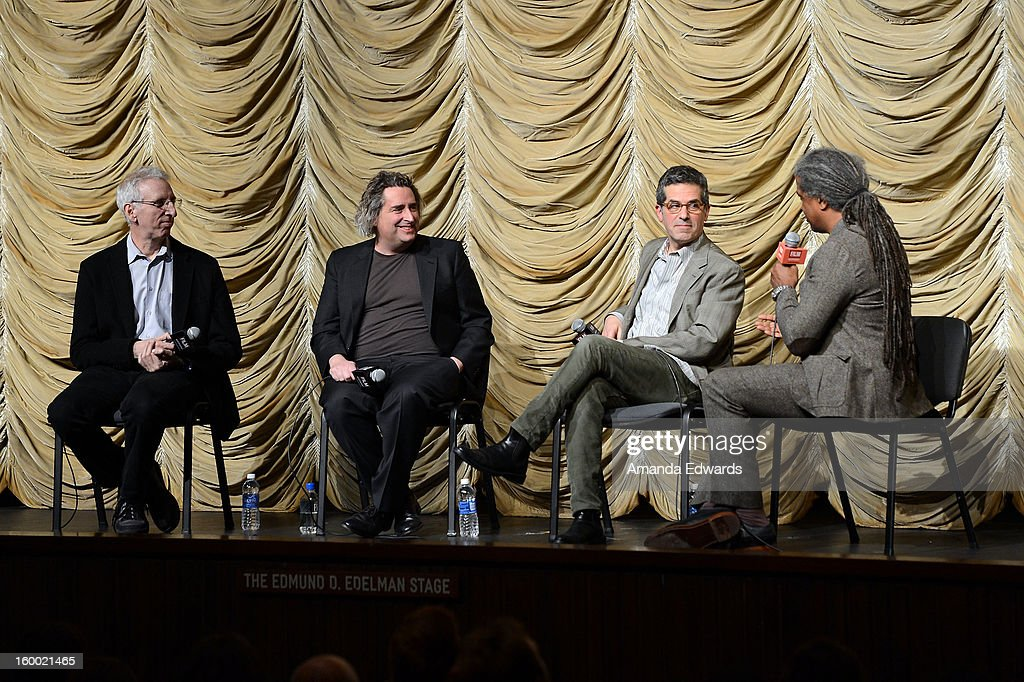 Director Ben Shapiro, photographer Gregory Crewdson, writer Jonathan Lethem and film curator <a gi-track='captionPersonalityLinkClicked' href=/galleries/search?phrase=Elvis+Mitchell&family=editorial&specificpeople=567104 ng-click='$event.stopPropagation()'>Elvis Mitchell</a> attend the Film Independent screening of Gregory Crewdson: Brief Encounters at the Bing Theatre At LACMA on January 24, 2013 in Los Angeles, California.