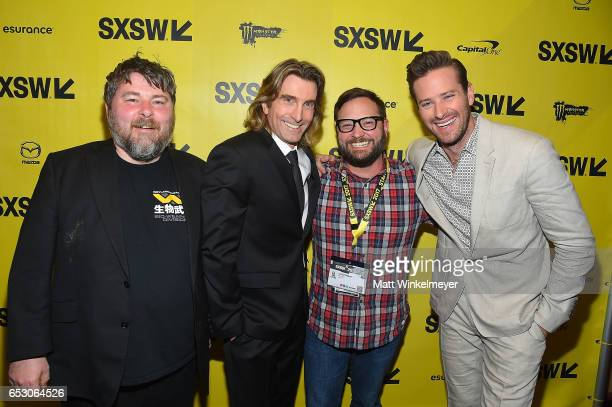 Director Ben Wheatley actor Sharlto Copley SXSW Producer and Senior Programmer Jarod Neece and actor Armie Hammer attend the 'FREE FIRE' premiere...
