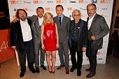 Director Ben Wheatley actors Luke Evans Elisabeth Moss and Tom Hiddleston producer Jeremy Thomas and actor Jeremy Irons attend the 'HighRise'...