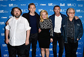 Director Ben Wheatley actors Tom Hiddleston Elisabeth Moss Luke Evans and producer Jeremy Thomas attend the 'HighRise' press conference at the 2015...