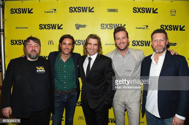 Director Ben Wheatley Phil Damecourt actors Sharlto Copley Armie Hammer and Brandon Leibmann attend the 'FREE FIRE' premiere 2017 SXSW Conference and...