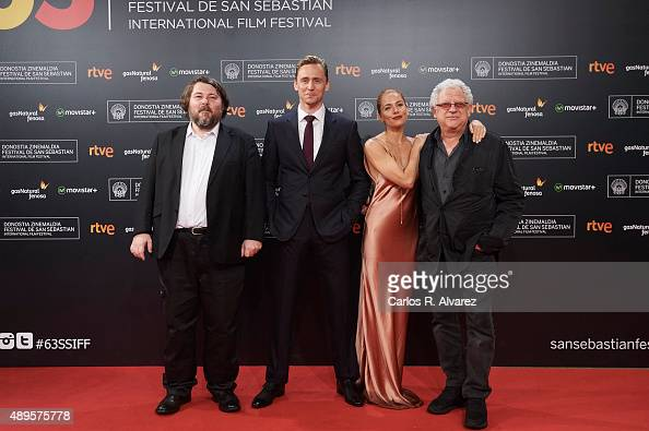Director Ben Wheatley Tom Hiddleston Sienna Miller and producer Jeremy Thomas attend the 'HighRise' premiere at the Kursaal Palace during the 63rd...