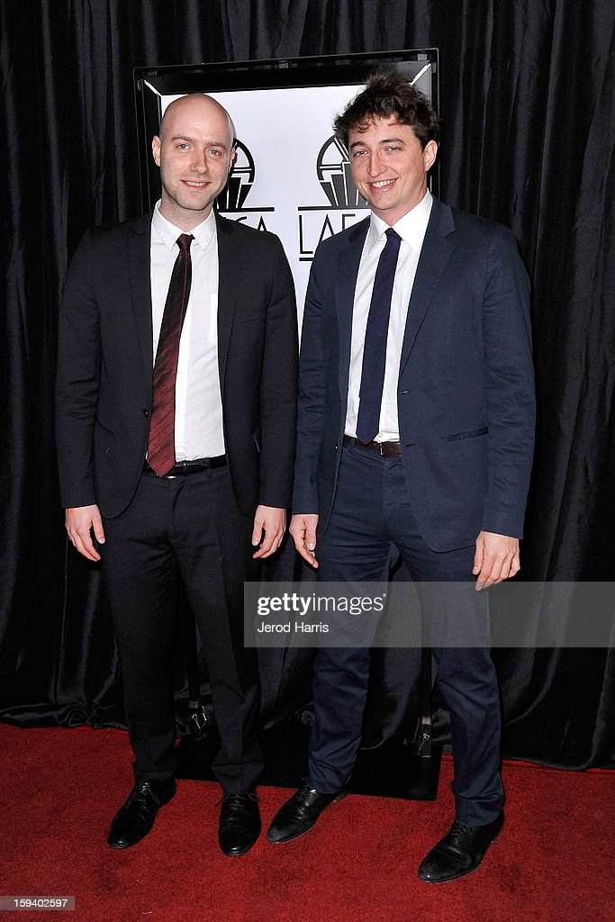 Director Benh Zeitlin and producer Dan Romer arrive at the 38th Annual Los Angeles Film Critics Association Awards at InterContinental Hotel on January 12, 2013 in Century City, California.