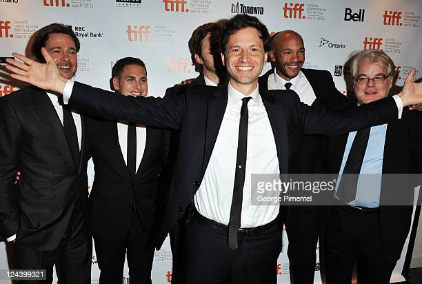 Director Bennett Miller Actor/Producer Brad Pitt Actor Jonah Hill Actor Chris Pratt Actor Stephen Bishop and Actor Philip Seymour Hoffman arrive at...