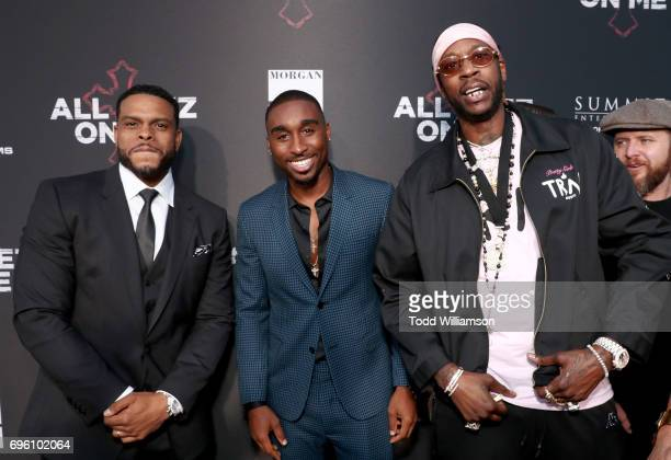 Director Benny Boom actor Demetrius Shipp Jr and recording artist 2 Chainz at the 'ALL EYEZ ON ME' Premiere at Westwood Village Theatre on June 14...