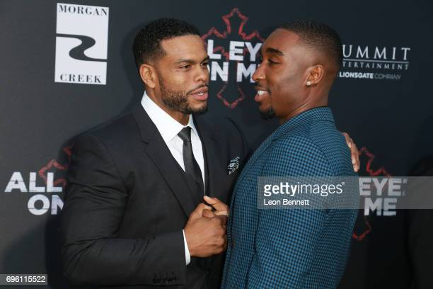 Director Benny Boom and actor Demetrius Shipp Jr attend the premiere of Lionsgate's 'All Eyez On Me' at the Westwood Village Theatres on June 14 2017...