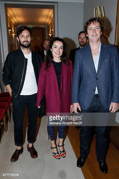 Director Benoit Petre actress Isabelle Vitari and Marlon B attend French minister of Culture and Communication Fleur Pellerin gives Medal of 'Knight...