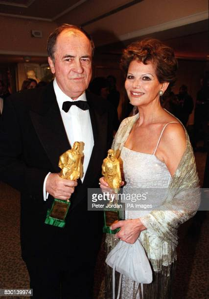 Director Bernado Bertolucci and Actress Claudia Cardinale with their Rudolph Valentino Award for Lifetime's Achievement in Cinema at The Grosvenor...