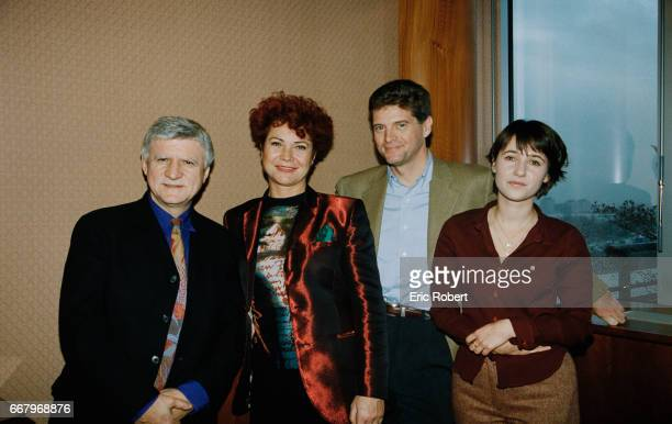 Director Bernard Bouthier producer Pascale Breugnot journalist Patrick Bourrat and producer Alexia LarocheJoubert gather at the TF1 television...