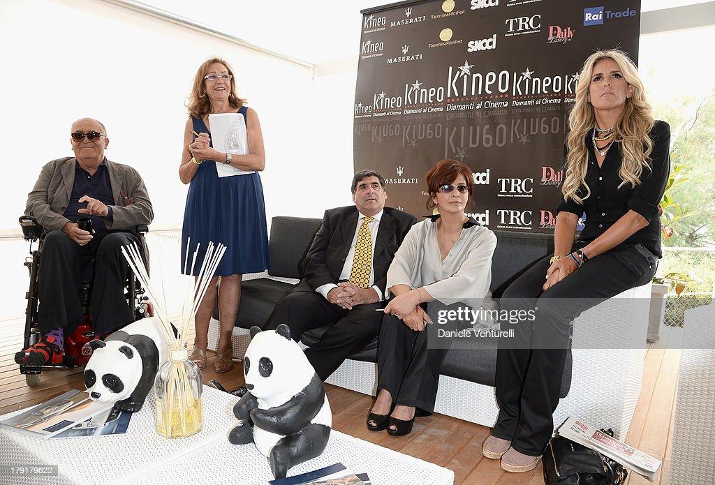 Director Bernardo Bertolucci, Rosetta Sannelli, Mayor of Taormina Eligio Giardina, actresses Laura Morante and Tiziana Rocca attend Premio Kineo Photocall during the 70th Venice International Film Festival at Terrazza Maserati on September 1, 2013 in Venice, Italy.