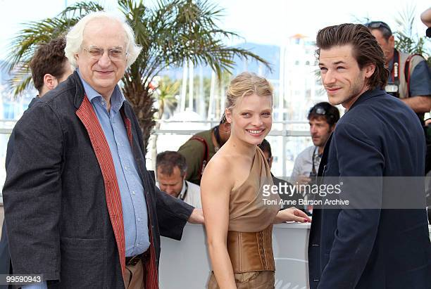 Director Bertrand Tavernier actress Melanie Thierry and actor Gaspard Ulliel attend the 'The Princess Of Montpensier' Photo Call held at the Palais...