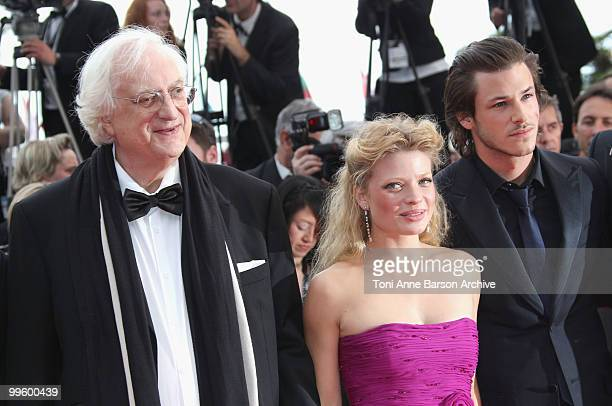 Director Bertrand Tavernier actress Melanie Thierry and actor Gaspard Ulliel attend the 'The Princess of Montpensier' Premiere held at the Palais des...