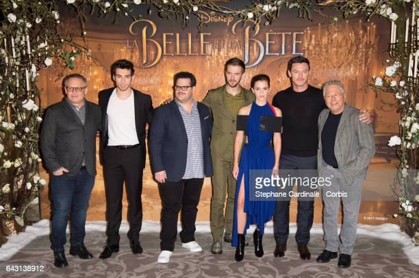 Director Bill Condon Actors Alexis Loizon Josh Gad Dan Stevens Emma Watson Luke Evans and composer Alan Menken attend the 'Beast And Beauty La Belle...