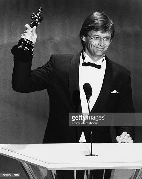 Director Bille August on stage receiving his Best Foreign Language Film Oscar for 'Pelle the Conqueror' at the 61st Academy Awards at the Shrine...