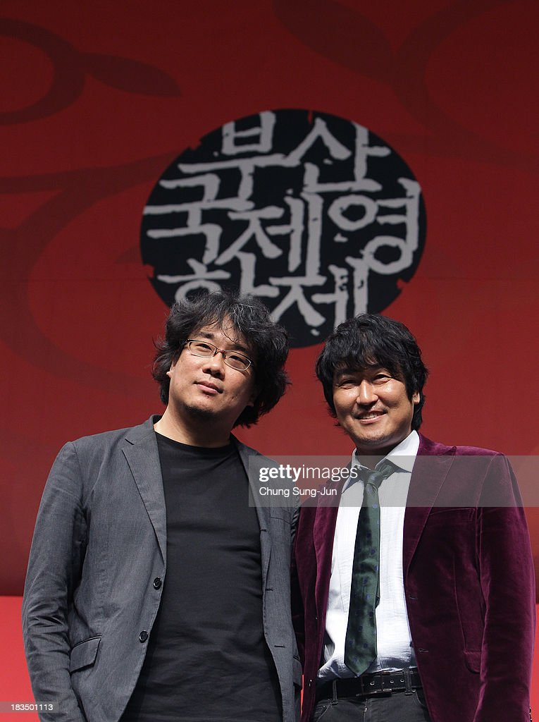 Director Bong Joon-Ho and actor Song Kang-Ho attend the Gala Presentation 'Snowpiercer' Press Conference at the Shinsegae Centumcity during the 18th Busan International Film Festival on October 7, 2013 in Busan, South Korea. The biggest film festival in Asia showcases 299 films from 70 countries and runs from October 3-12.