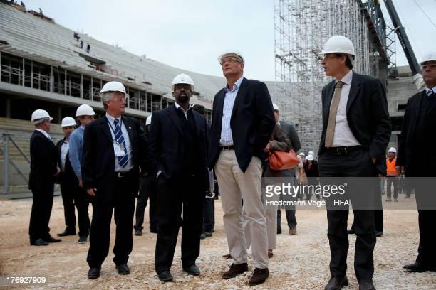 FIFA director Brazil Ron DelMont and FIFA Secretary General Jerome Valcke take a tour of the Arena da Baixada during the 2014 FIFA World Cup Host...