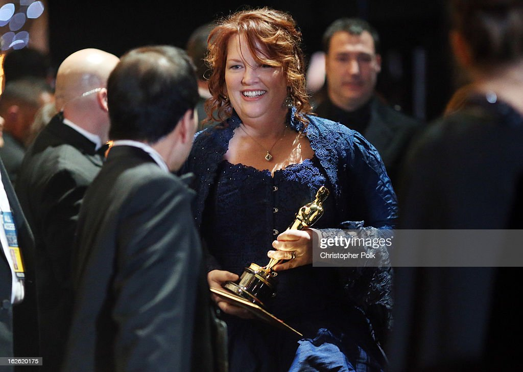 Director Brenda Chapman, winner of the Best Animated Feature award for 'Brave,' backstage during the Oscars held at the Dolby Theatre on February 24, 2013 in Hollywood, California.
