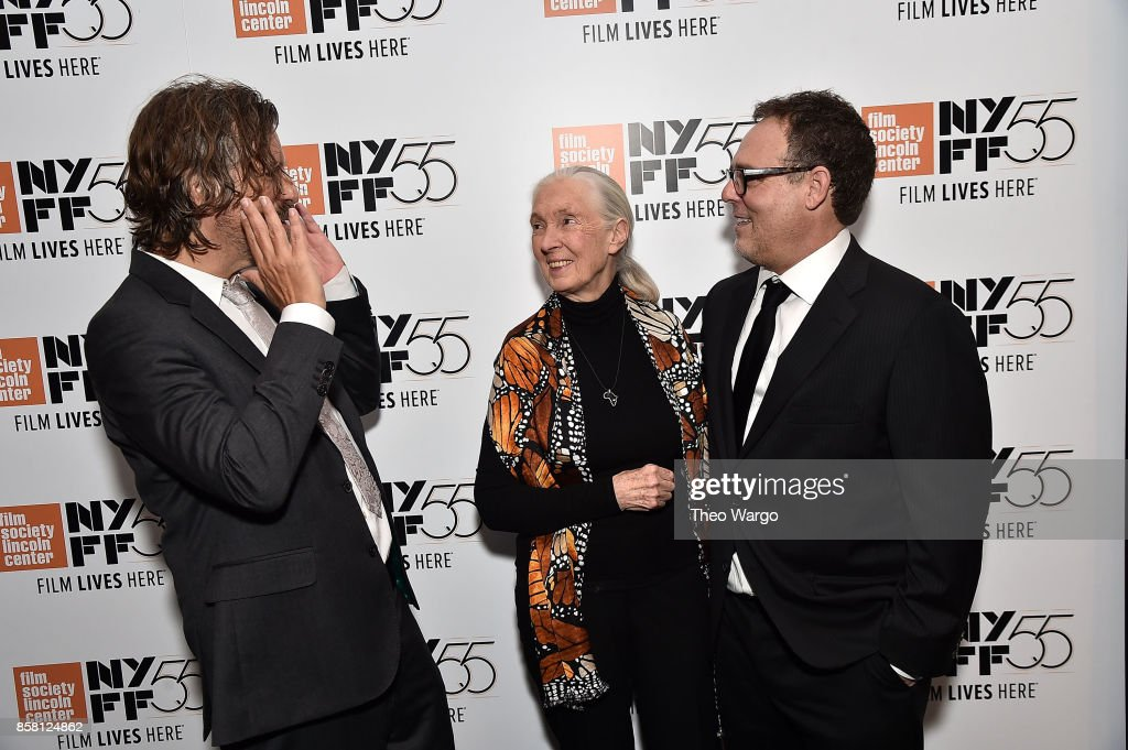 Director Brett Morgen, Jane Goodall and Bryan Burk attend the 55th New York Film Festival - 'Jane' at The Film Society of Lincoln Center, Walter Reade Theatre on October 5, 2017 in New York City.