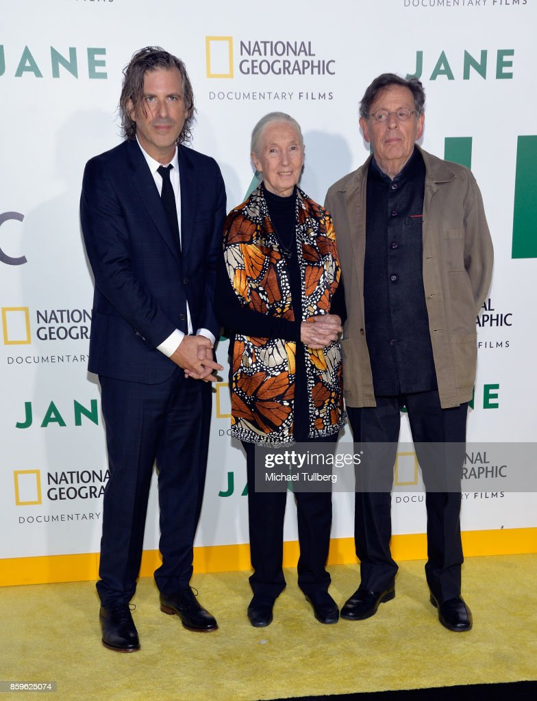 Director Brett Morgen, primatologist Dr. Jane Goodall and composer Philip Glass attend the premiere of National Geographic Documentary Films' 'Jane' at the Hollywood Bowl on October 9, 2017 in Hollywood, California.
